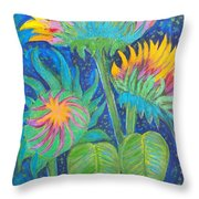 Three Sunflowers In The Mid Summer Night  Throw Pillow