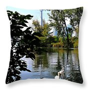 Three Swans And The Cn Tower Throw Pillow
