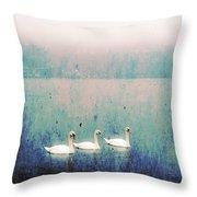 Three Swans Throw Pillow