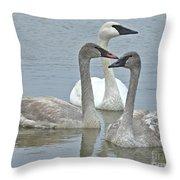 Three Swans Swimming Throw Pillow