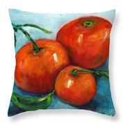 Three Tangerines Still Life Grace Venditti Montreal Art Throw Pillow