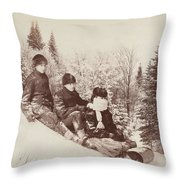 Three Tobogganers On A Snowy Hill Throw Pillow