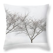Three Trees In A Snowstorm Throw Pillow