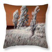 Three Trees  In Infrared On Top Of A Grassy Dune Throw Pillow