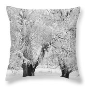 Three Trees In The Snow - Bw Fine Art Photography Print Throw Pillow
