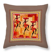 Three Tribal Dancers L A With Decorative Ornate Printed Frame. Throw Pillow