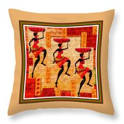 Three Tribal Dancers L B With Alt. Decorative Ornate Printed Frame. Throw Pillow