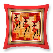 Three Tribal Dancers L B With Decorative Ornate Printed Frame Throw Pillow