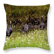 Three Turkeys Throw Pillow