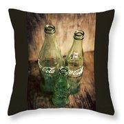 Three Vintage Coca Cola Bottles  Throw Pillow