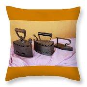 Three Vintage Irons Throw Pillow