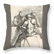 Three Warriors Conversing At A Low Wall, One With His Back Turned Throw Pillow