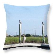 Three Watchbirds Throw Pillow