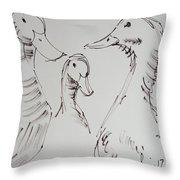 Three White Ducks Drawing Throw Pillow