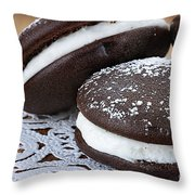Three Whoopie Pies Or Moon Pies Throw Pillow