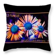 Three Wild Flowers Friendship Throw Pillow