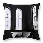 Three Window Church Throw Pillow