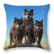 Three Wolves Watching You Throw Pillow