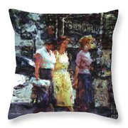 Three Women In Town Throw Pillow