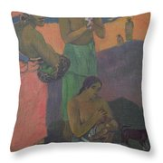 Three Women On The Seashore Throw Pillow by Paul Gauguin
