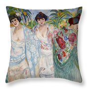 Three Women With Shawls Throw Pillow