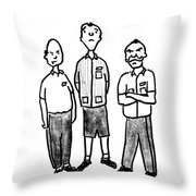 Three Workers Throw Pillow