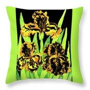 Three Yellow-black Irises, Painting Throw Pillow