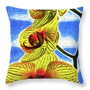 Three Yellow Orchid Blooms Throw Pillow