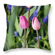 Three Young Tulips Throw Pillow
