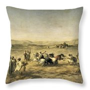 Threshing Wheat In Algeria Throw Pillow