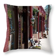 Thrift Shop And Sign In Manitou Springs Throw Pillow