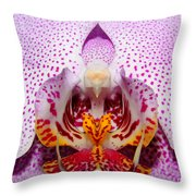 Throat Of An Orchid Throw Pillow