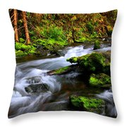 Through The Forest Floor It Flows Throw Pillow