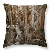 Through The Forest Trees Throw Pillow