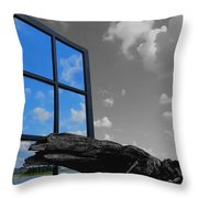 Through The Looking Glass Blue Throw Pillow