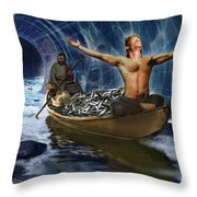 Through The Rapids Throw Pillow
