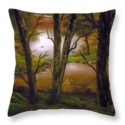 Through The Trees. Throw Pillow by Cynthia Adams