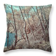 Through The Trees In Infrared Throw Pillow