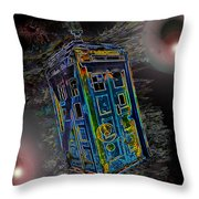 Tardis - Through Time And Space Throw Pillow