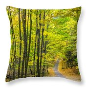 Through Yellow Woods Throw Pillow