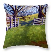 Throught The Pasture Gate Throw Pillow