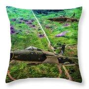 Thuds Over Vietnam Oil Throw Pillow