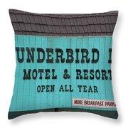 Thunderbird Inn -  Iconic Sign In Wildwood Throw Pillow