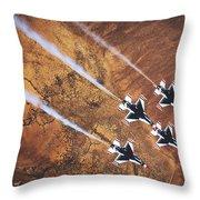 Thunderbirds In Diamond Roll Formation Throw Pillow