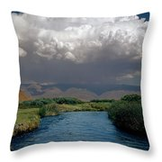 2a6738-thunderhead Over Owens River  Throw Pillow