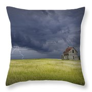 Thunderstorm On The Prairie Throw Pillow