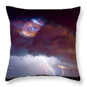 Lightning Thunderstorm Over Dacono Throw Pillow