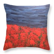 Thunderstorm Over The Poppy Field Throw Pillow