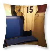 New York Yankee Captian Thurman Munson 15 Locker Throw Pillow