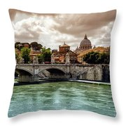 Tiber River, Ponte Sant'angelo And St. Peter's Cathedral, Roma, Italy Throw Pillow
